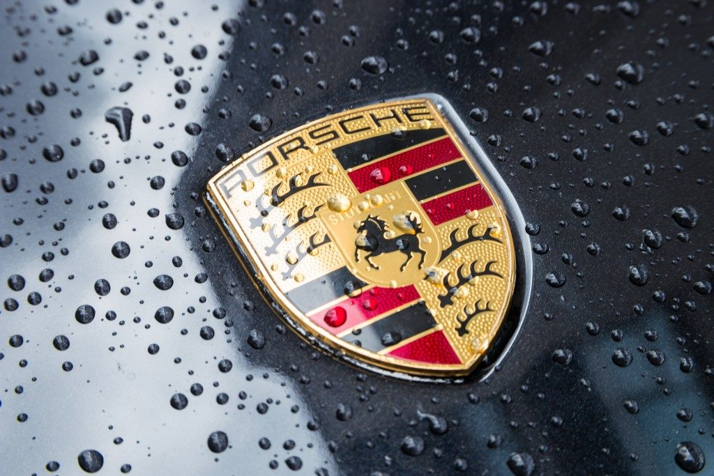 Close up photo of Porsche's logo