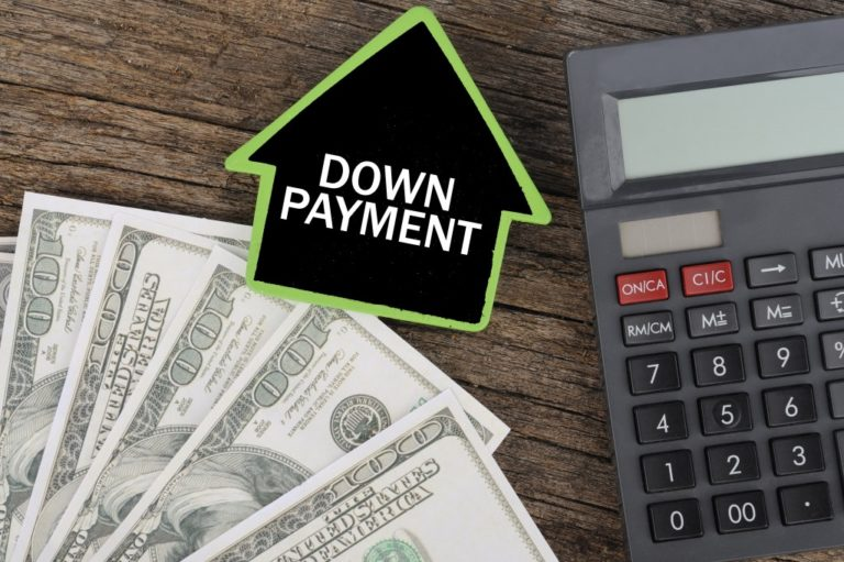 money and calculator property down payment concept