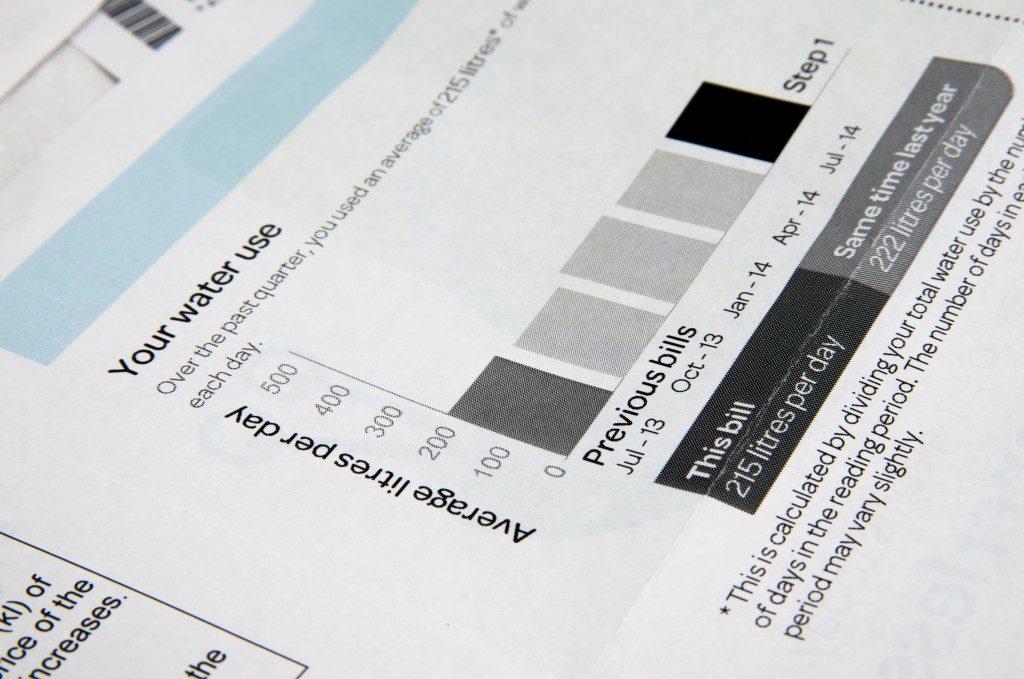 closeup of a water bill