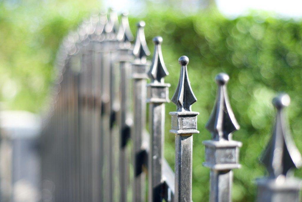 Metal fence close up