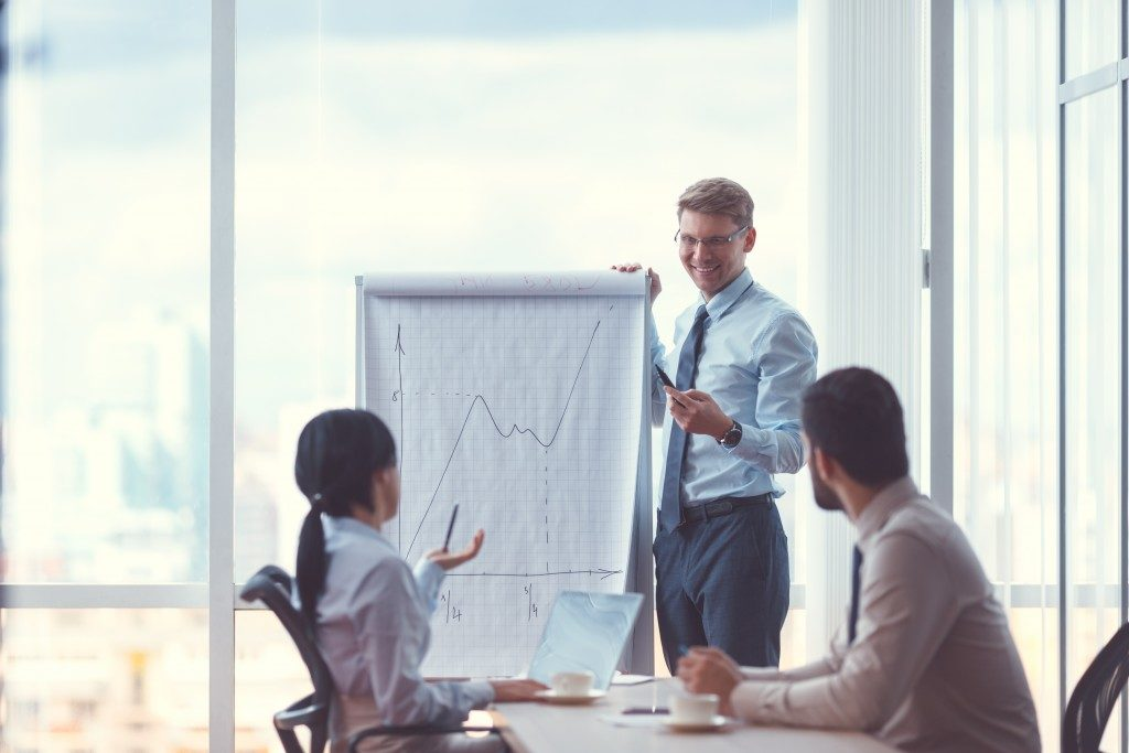 employee presenting charts to coworkers in a meeting