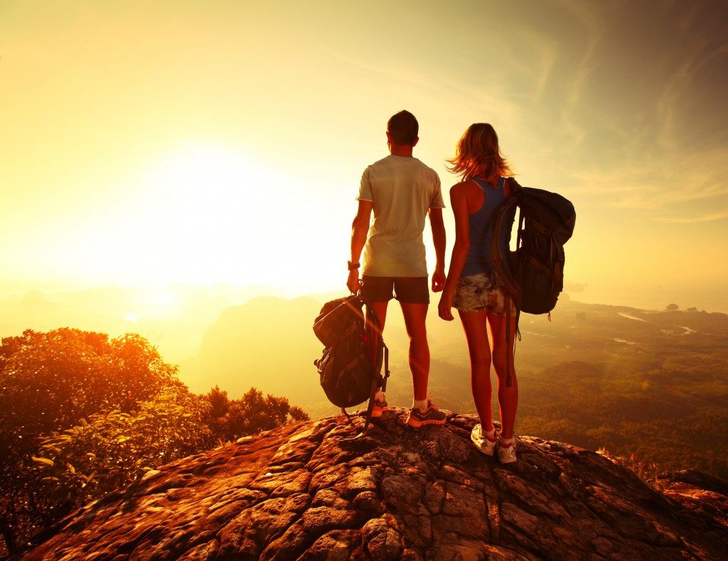 couple out on a hiking trip