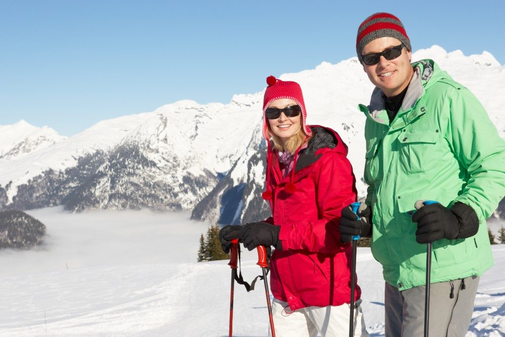 couple out skiing