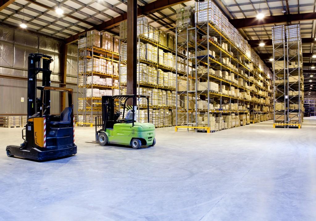 forklift inside the warehouse