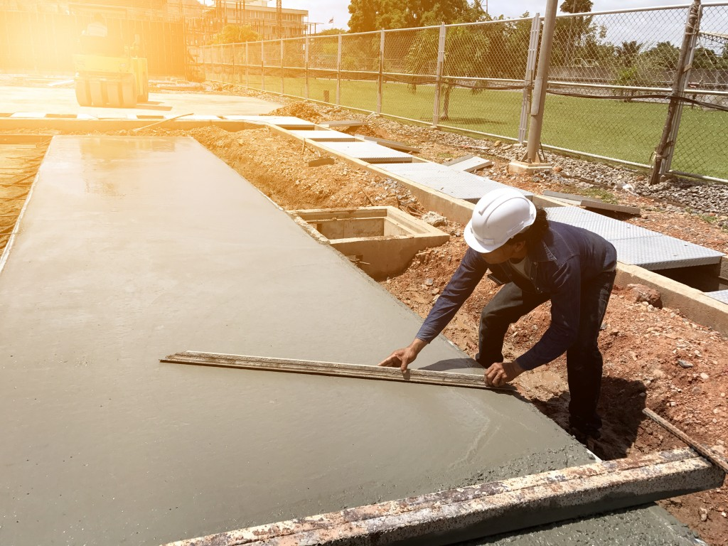 worker working on concrete