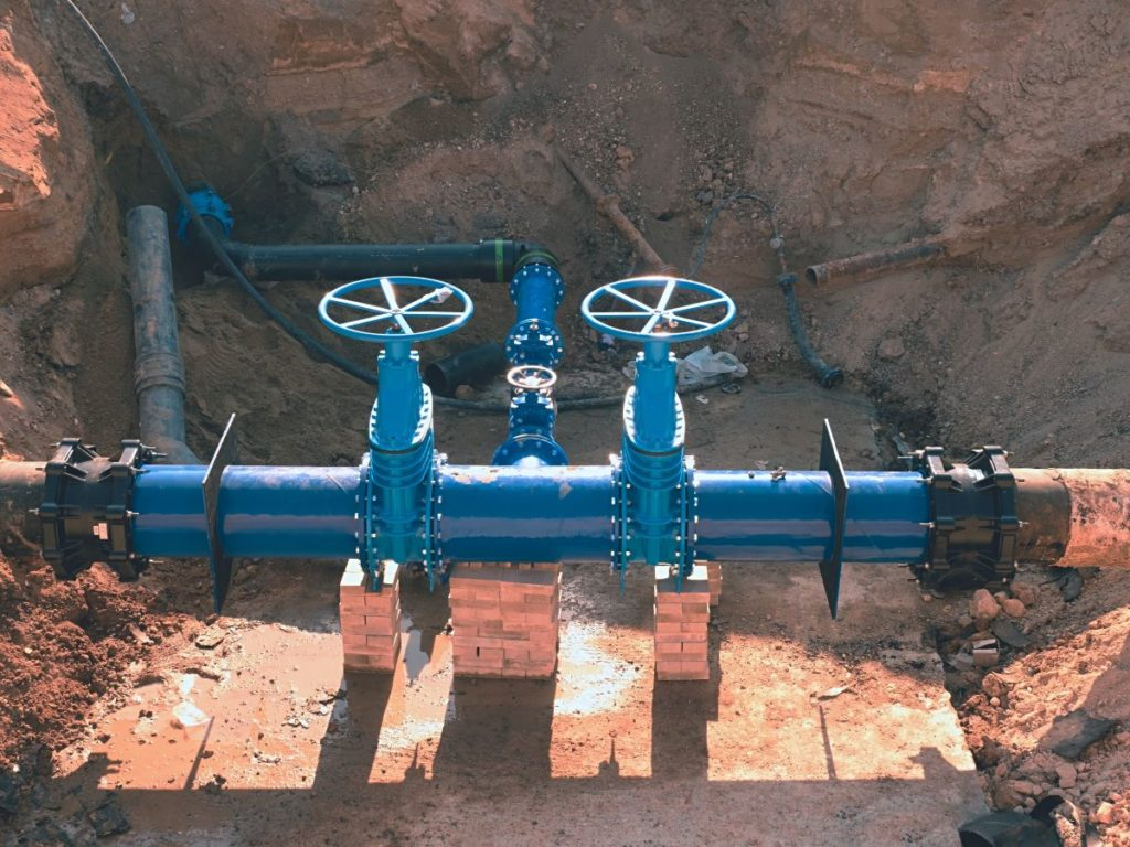 blue pipes and valves