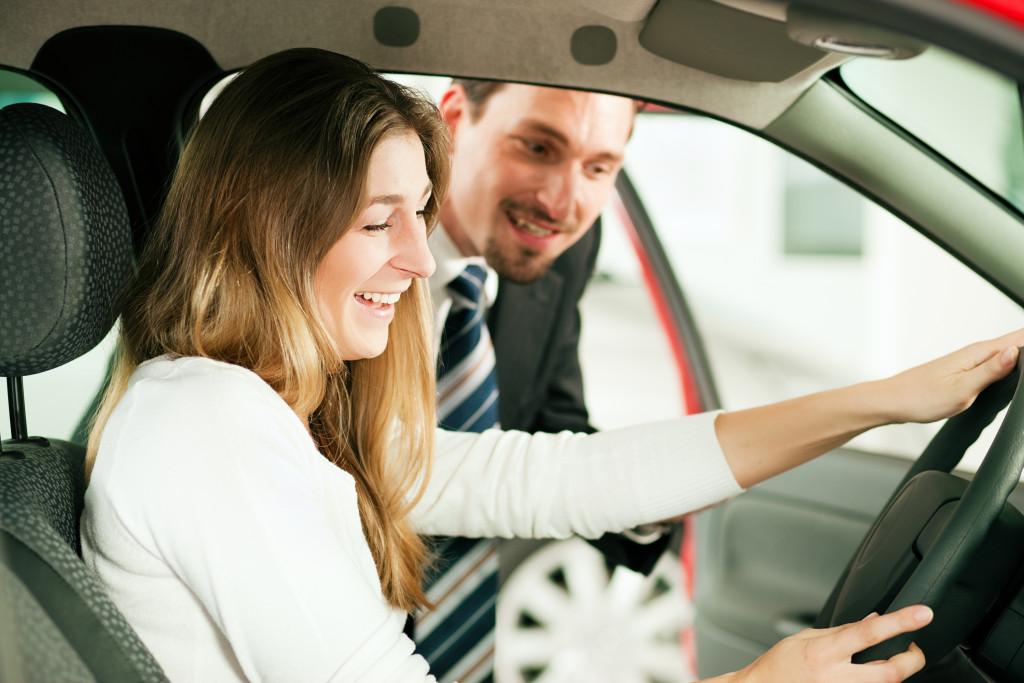 woman getting a car